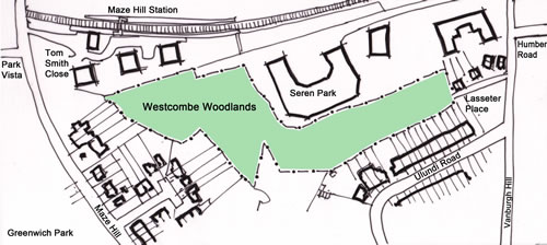 Drawing of the Westcombe Woodlands site